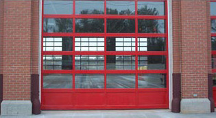 Crawford Door Lansing commercial windowed garage doors.