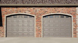 Crawford Door Lansing residential garage doors with windows.